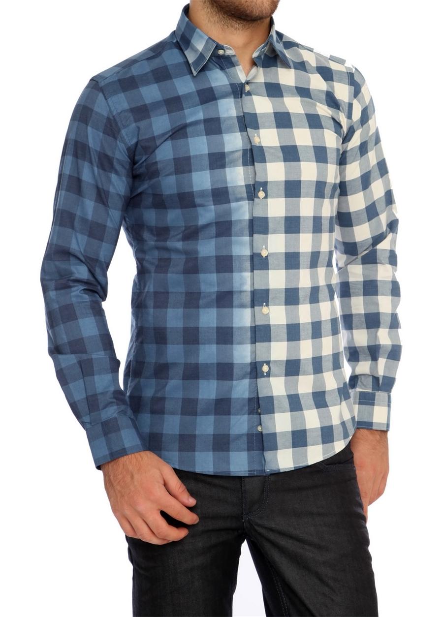G 1118 Slim Fit Mavi Spor Gömlek