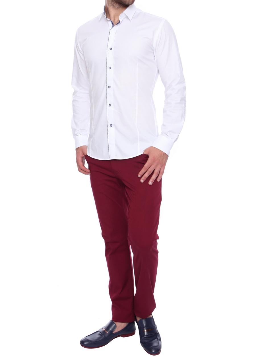 P 907 Slim Fit Bordo Spor Pantolon