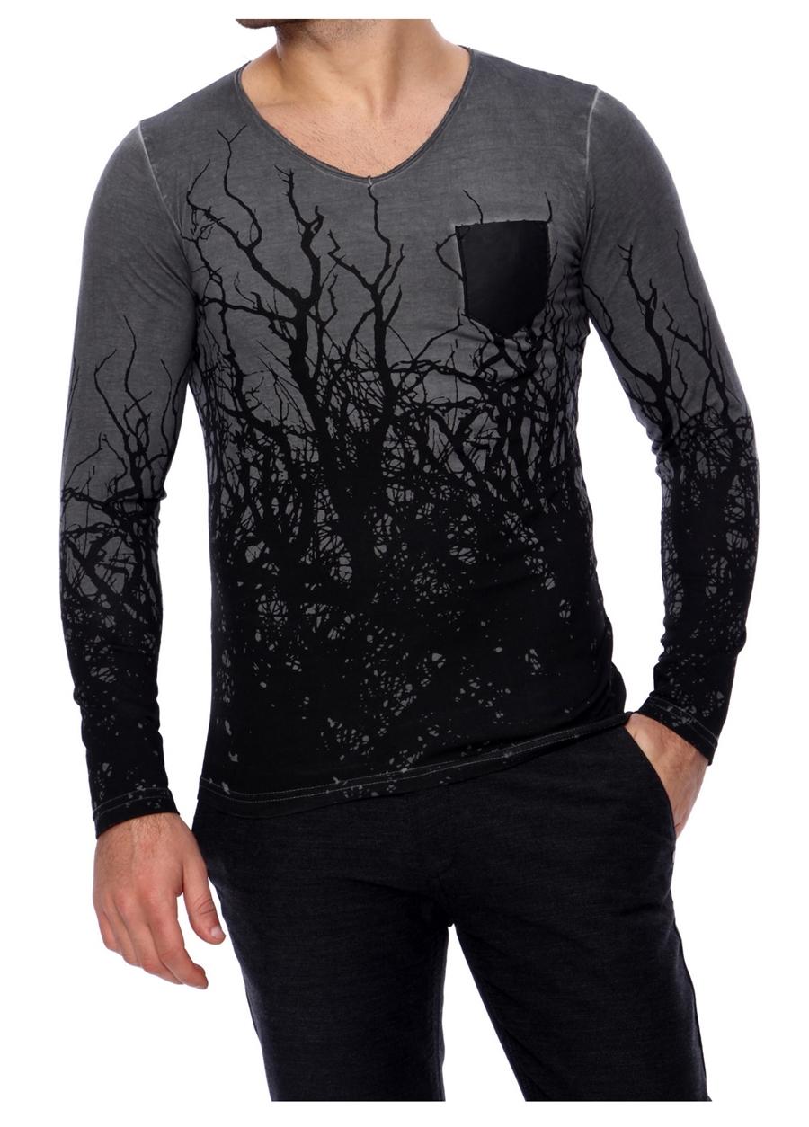 TS 629 Slim Fit Gri Spor T-Shirt