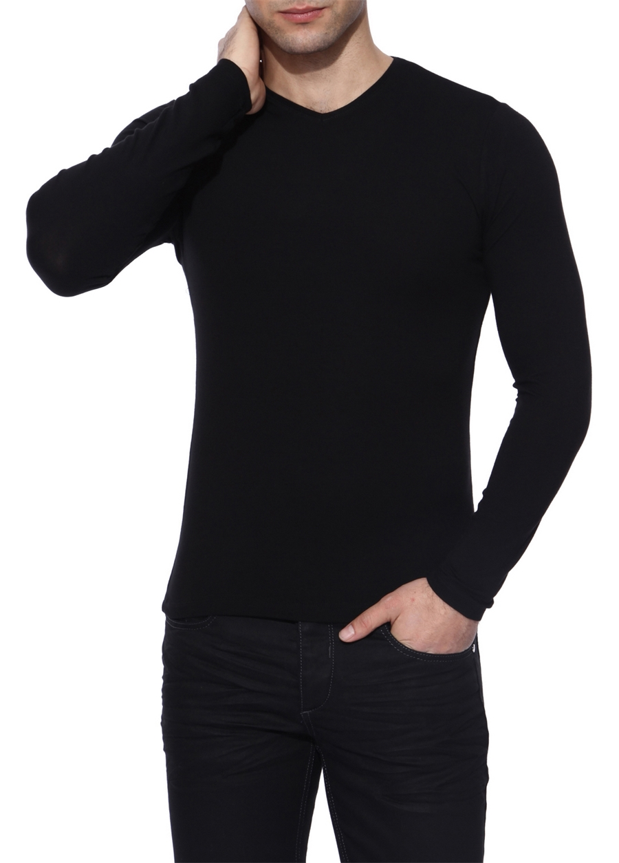 TS 634 Slim Fit Siyah Spor T-Shirt