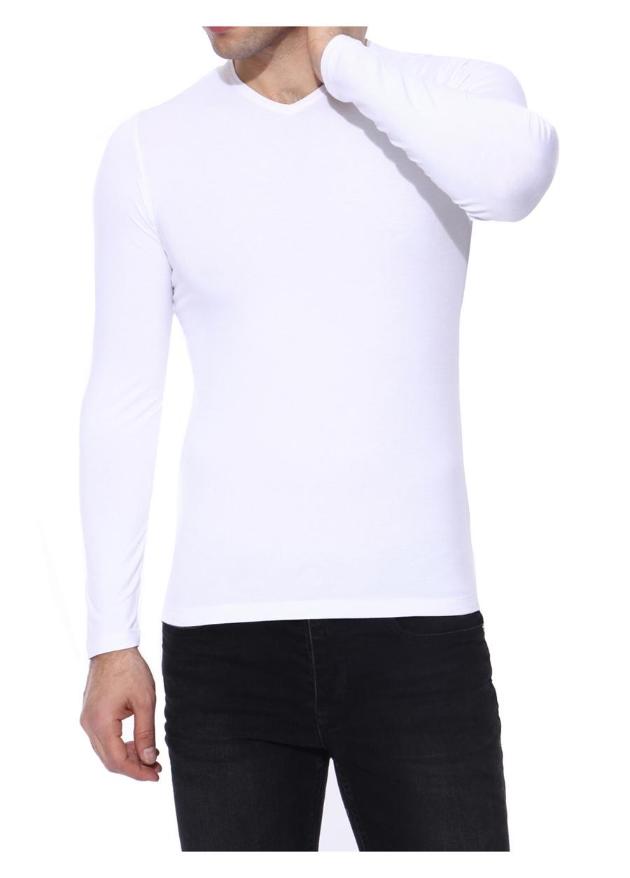 TS 634 Slim Fit Beyaz Spor T-Shirt
