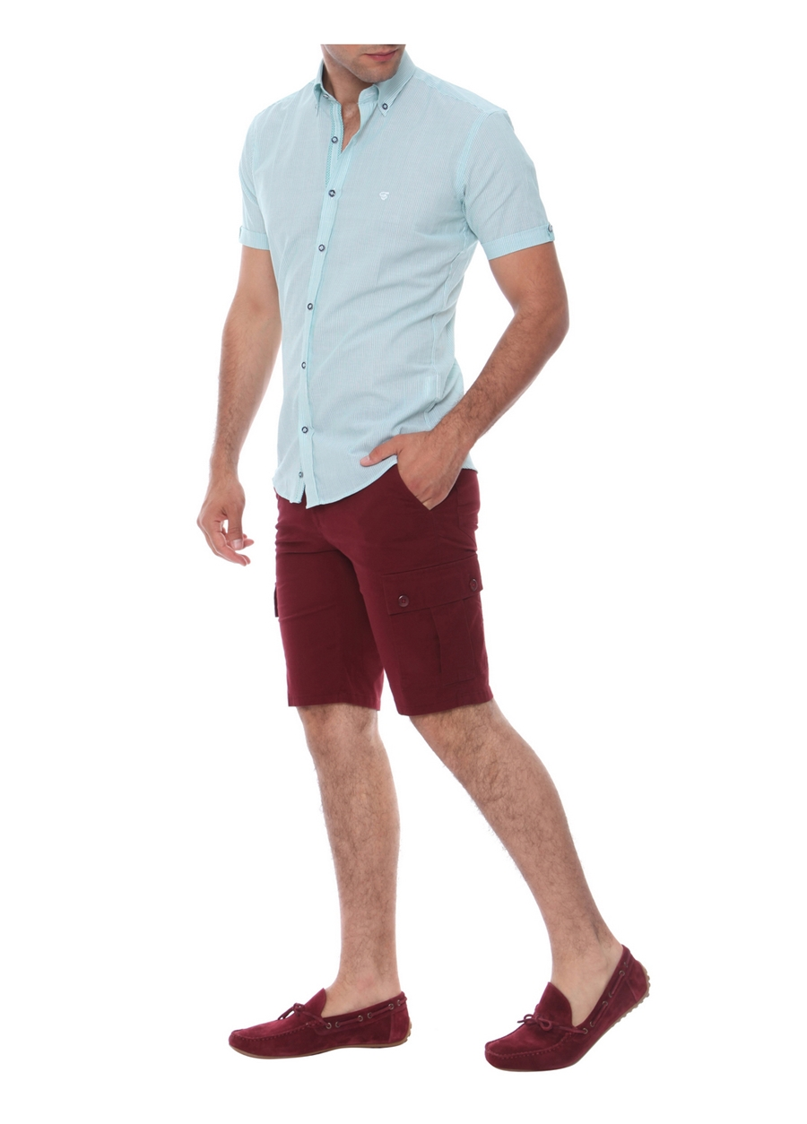 B 014 Slim Fit Bordo Bermuda