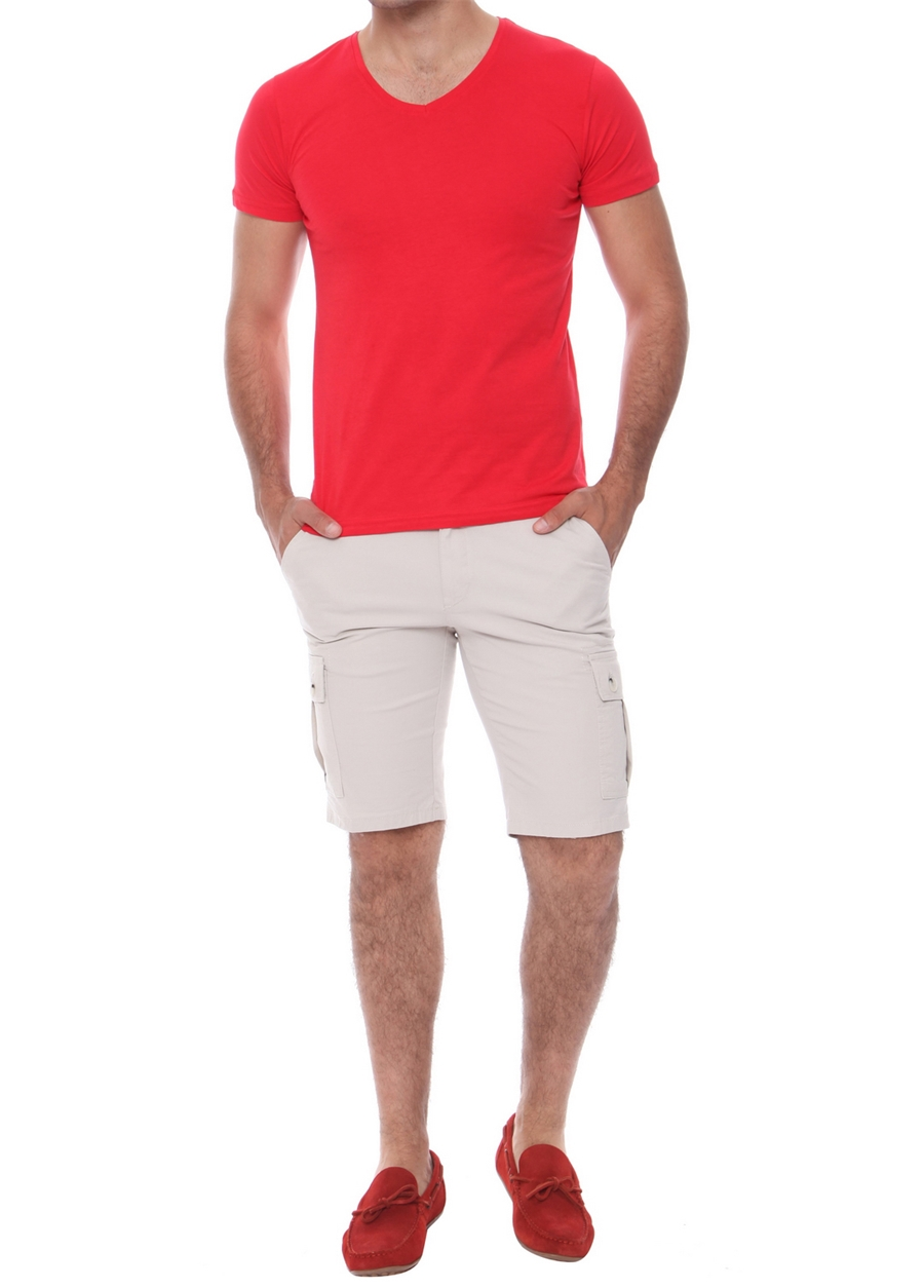 B 014 Slim Fit Taş Bermuda