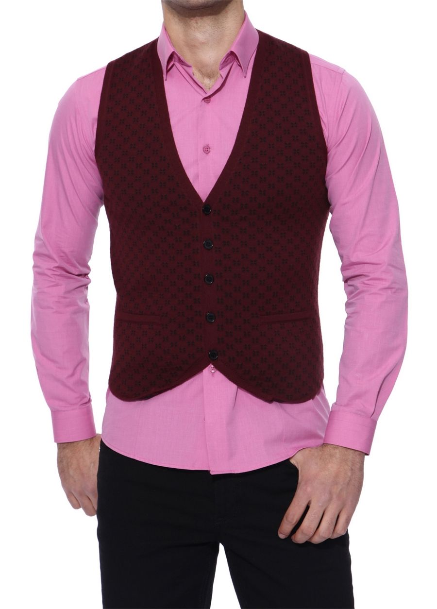 Y 132 Slim Fit Bordo Klasik Yelek