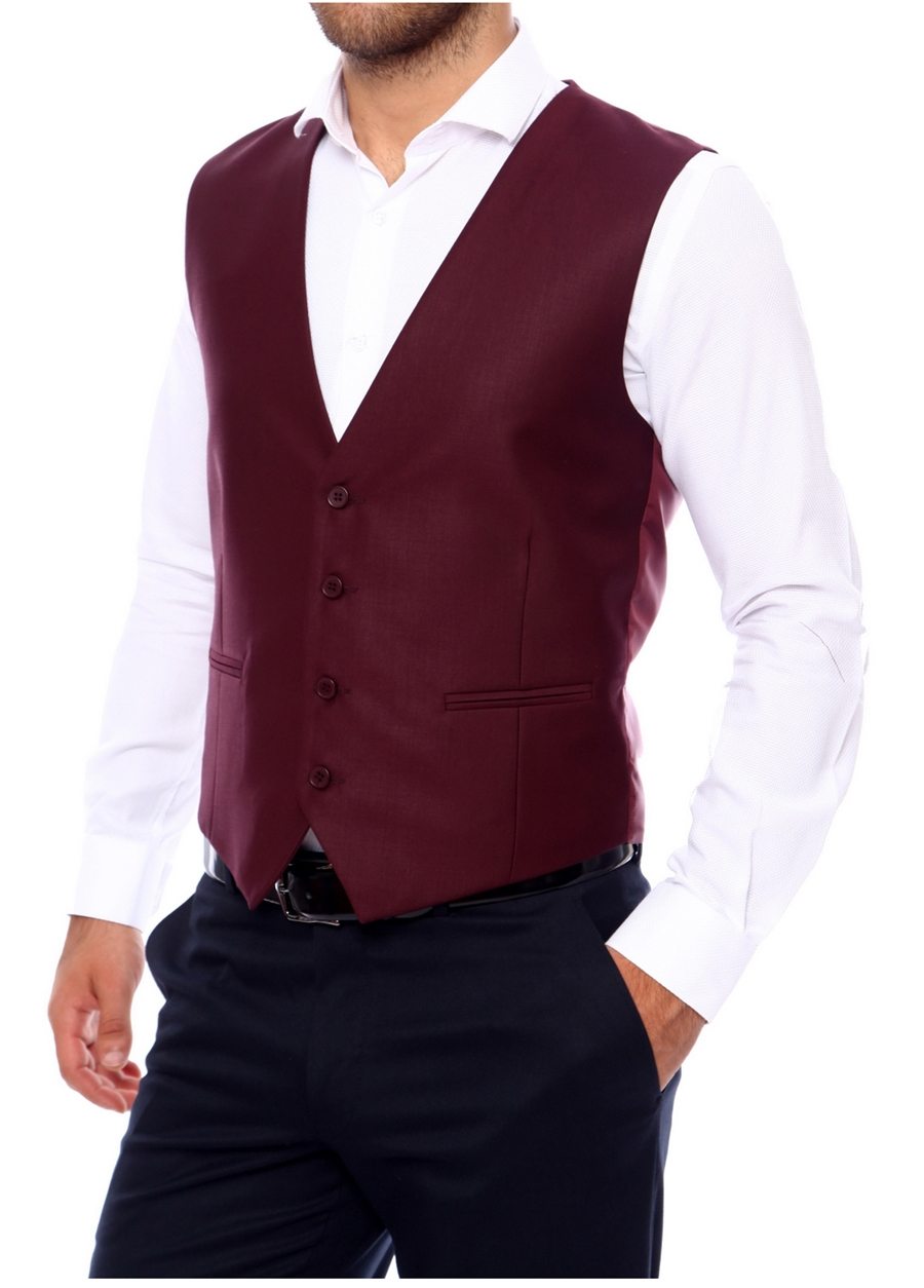 Y 102 Slim Fit Bordo Klasik Yelek