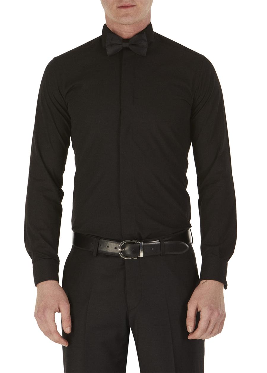 GK 148 Slim Fit Siyah Klasik Gömlek