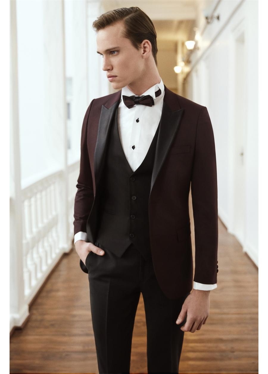 016 Slim Fit Bordo Black Ceket