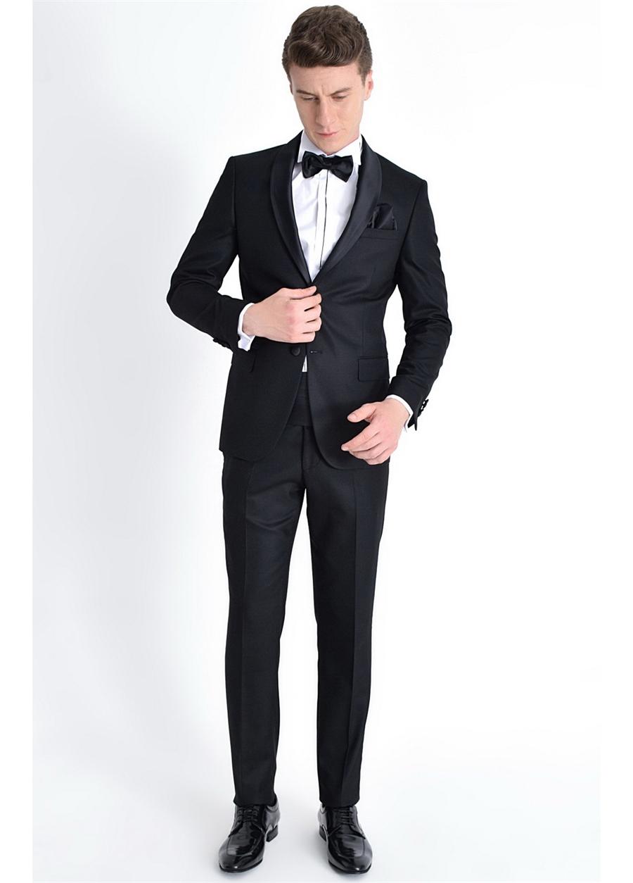 052 Slim Fit Siyah Black Takım Elbise