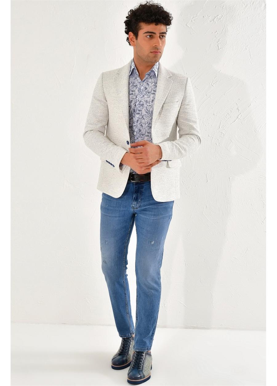 C 561 Slim Fit Beyaz-Mavi Klasik Ceket