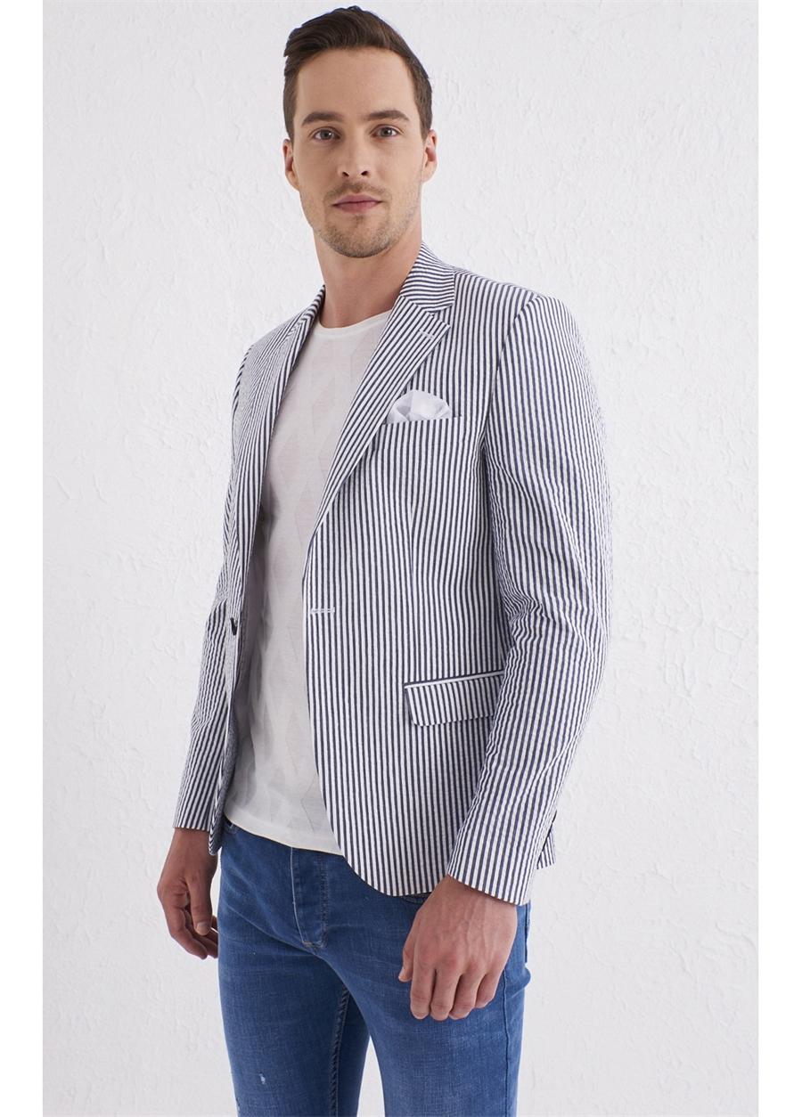 C 566 Slim Fit Lacivert-Beyaz Spor Ceket