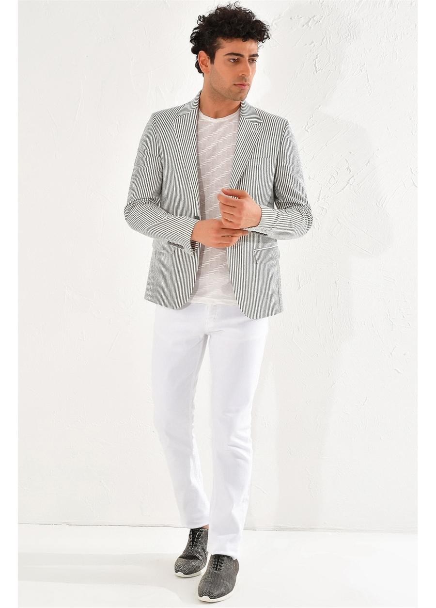 C 566 Slim Fit Haki-Beyaz Spor Ceket