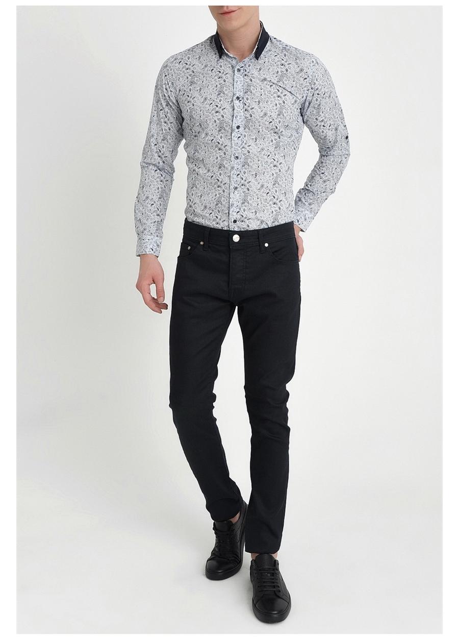 036 Slim Fit Lacivert Kanvas Pantolon