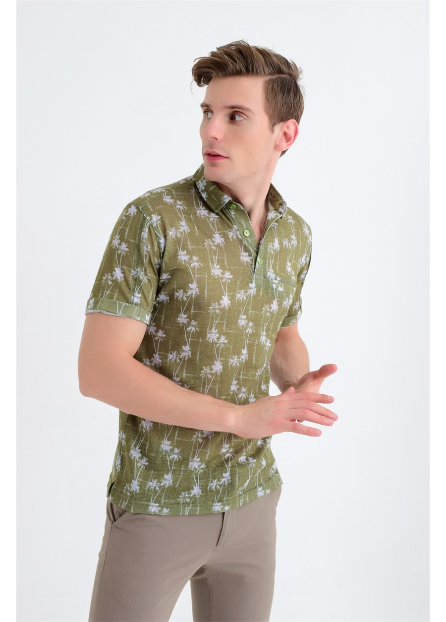 ETS 008 Slim Fit Haki Spor T-Shirt