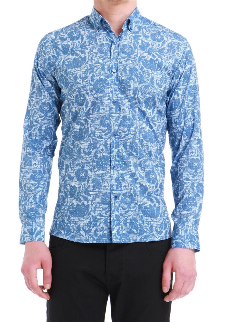 G 1392 Slim Fit Mavi Spor Gömlek