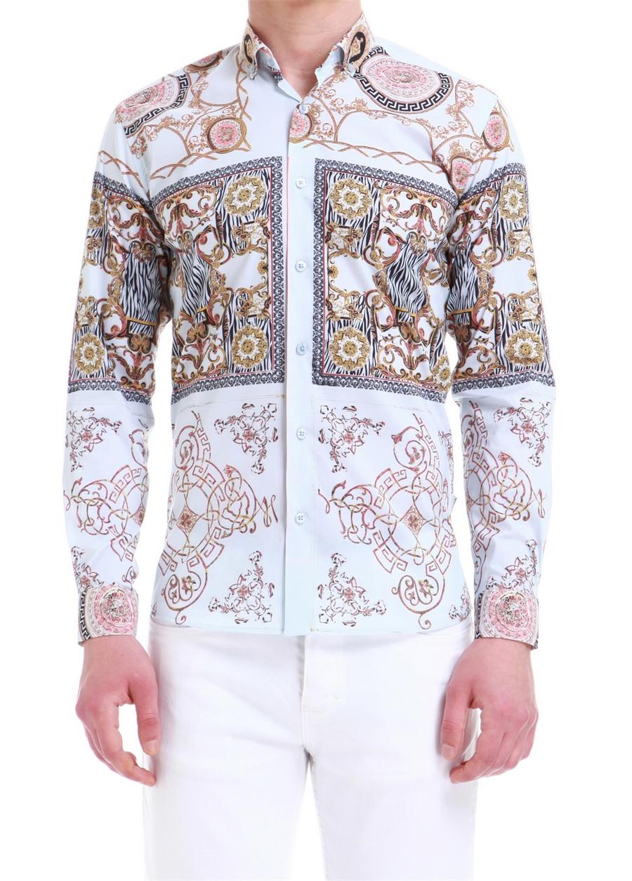 G 1393 Slim Fit Beyaz Spor Gömlek