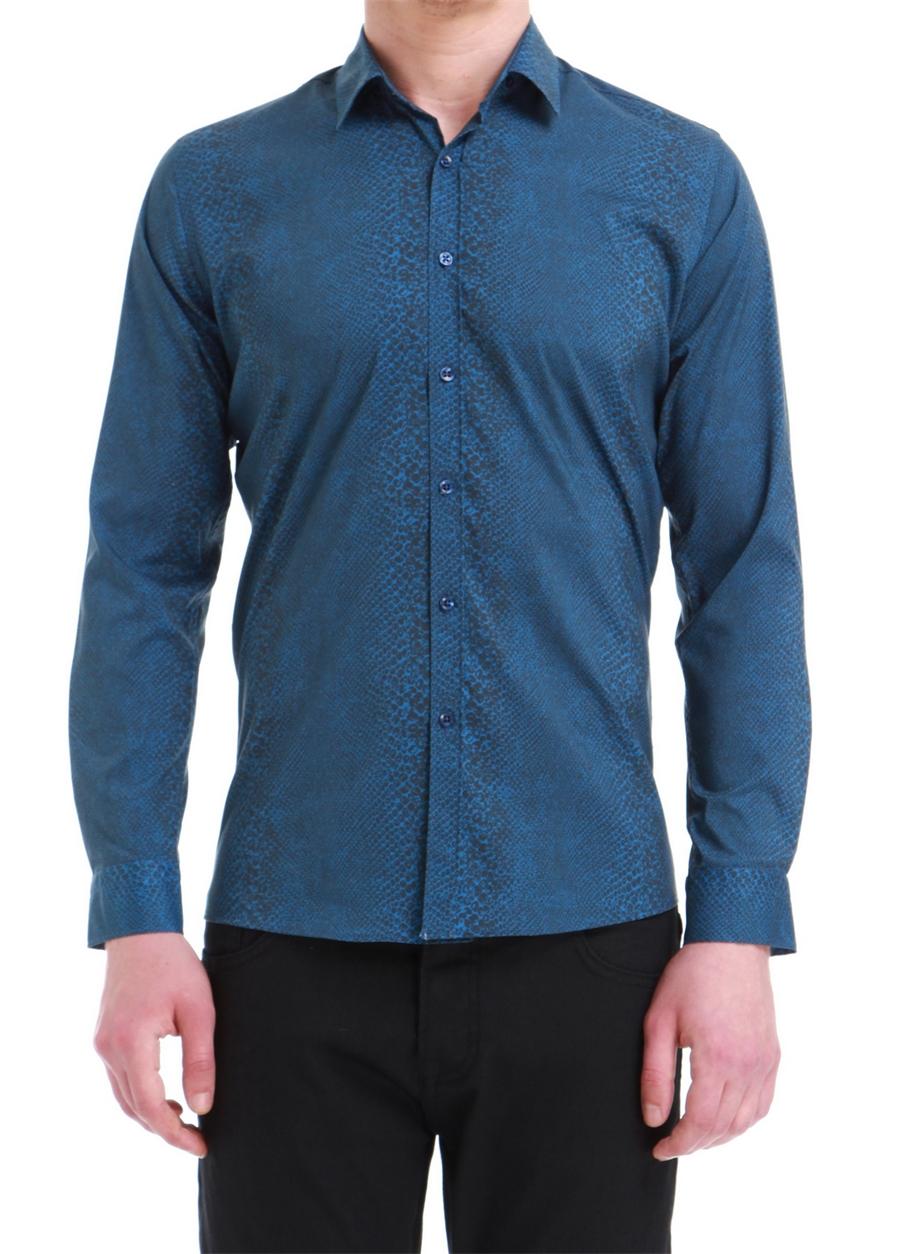 G 1394 Slim Fit İndigo Spor Gömlek