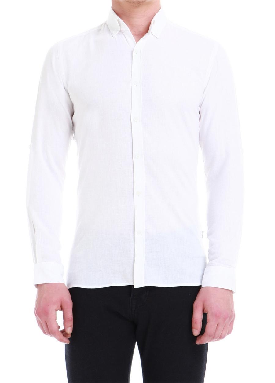 G 1396 Slim Fit Beyaz Spor Gömlek