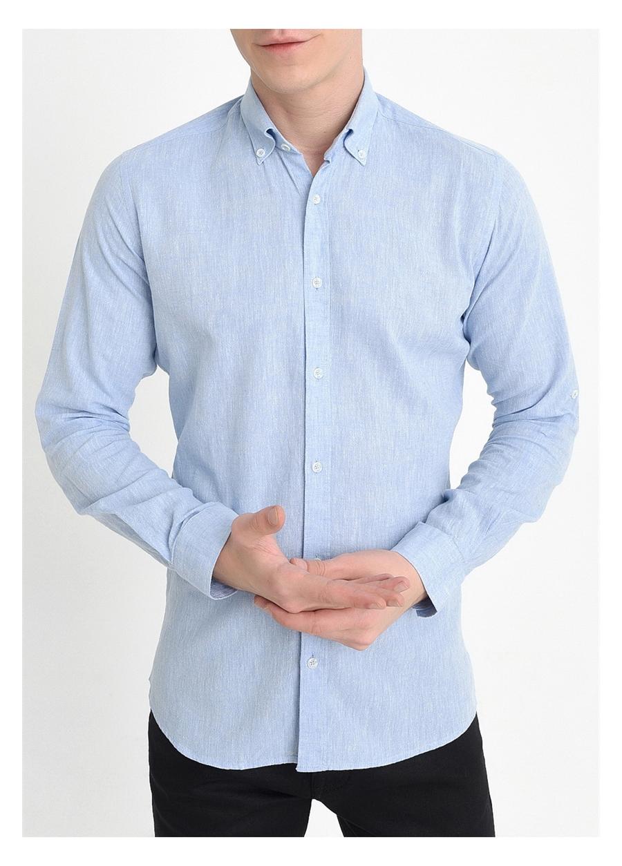 G 1396 Slim Fit Mavi Spor Gömlek