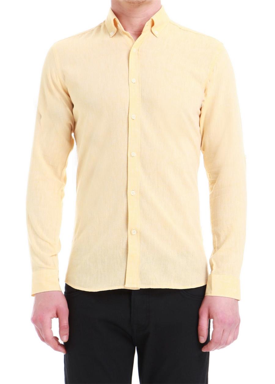 G 1396 Slim Fit Sarı Spor Gömlek