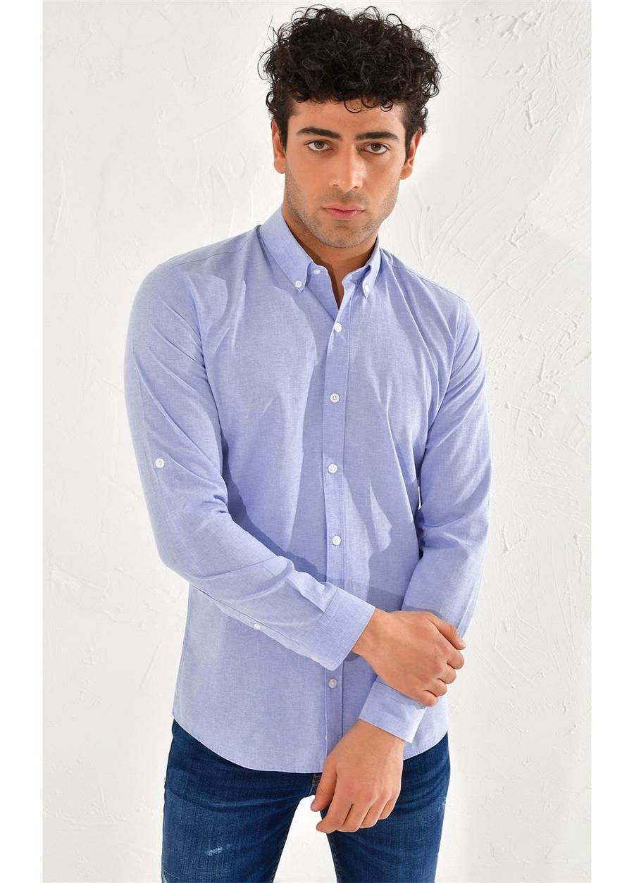 G 1441 Slim Fit İndigo Spor Gömlek
