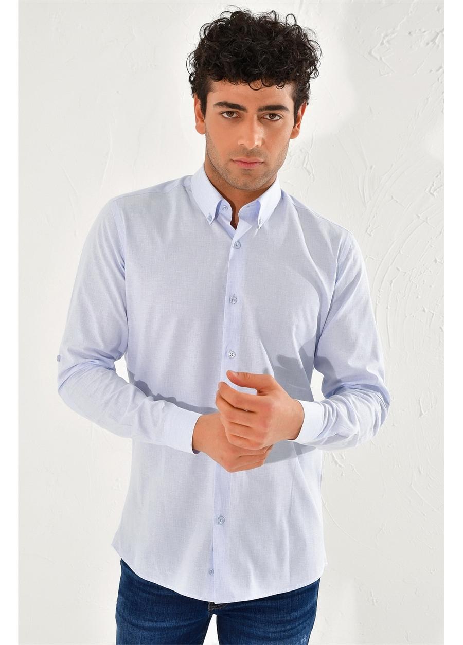 G 1442 Slim Fit Mavi Spor Gömlek