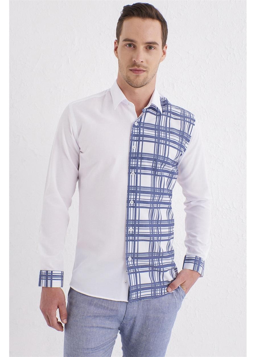 G 1444 Slim Fit Beyaz Spor Gömlek