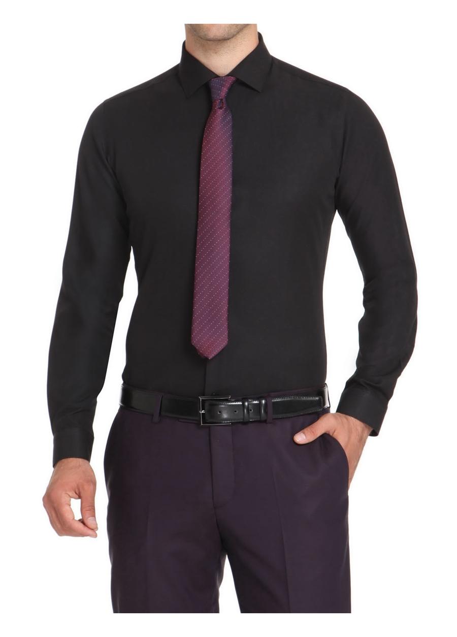 GK 499 Slim Fit Siyah Klasik Gömlek