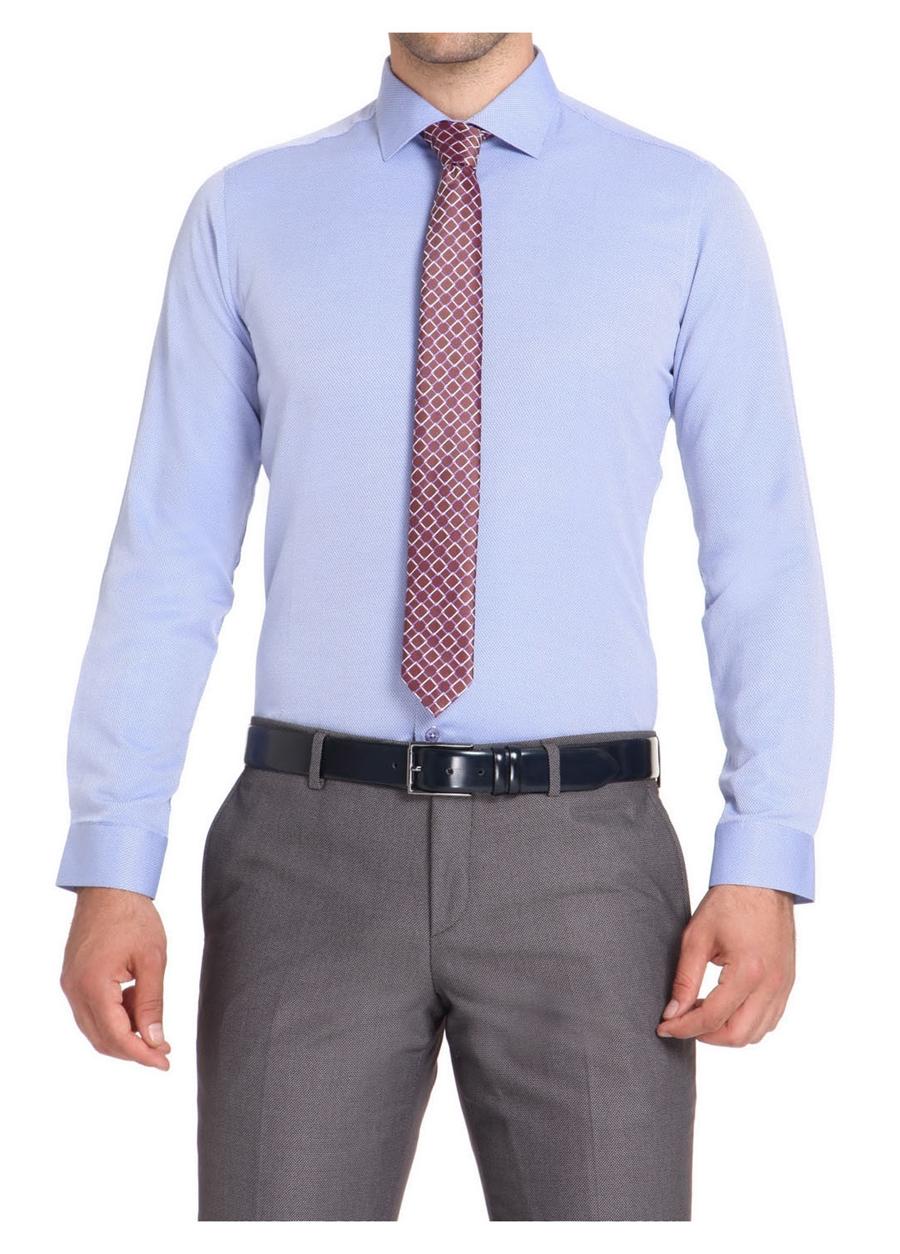 GK 499 Slim Fit Koyu Mavi Klasik Gömlek