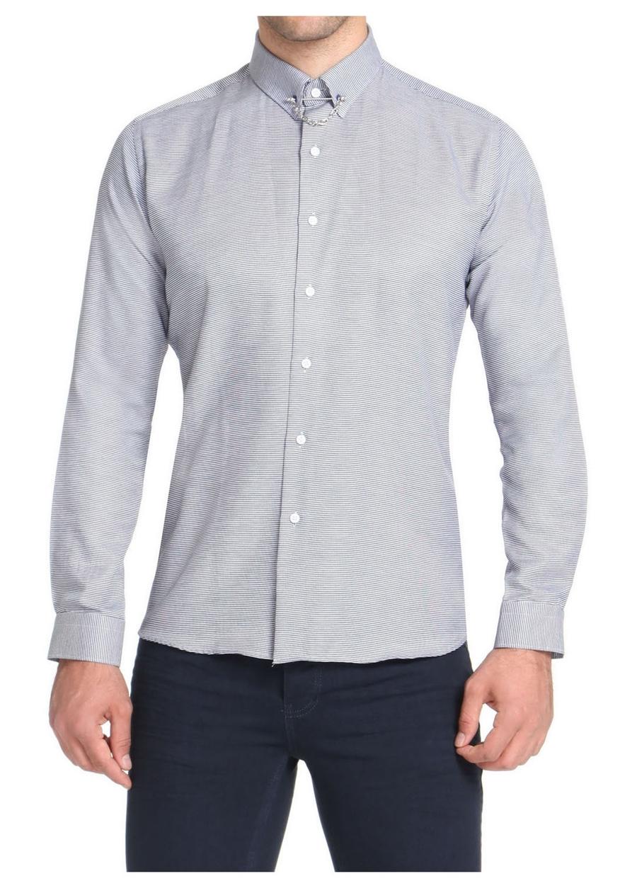 GK 509 Slim Fit Lacivert-Beyaz Spor Gömlek