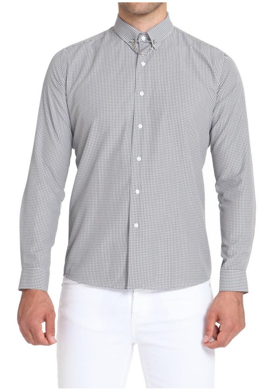 GK 509 Slim Fit Siyah-Beyaz Spor Gömlek