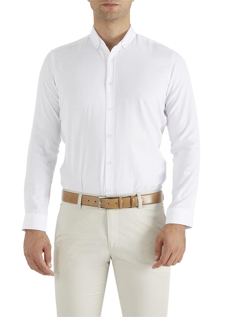 GK 517 Slim Fit Beyaz Klasik Gömlek