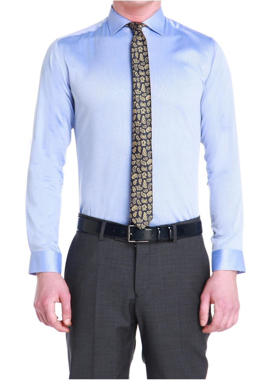 GK 534 Slim Fit Koyu Mavi Klasik Gömlek