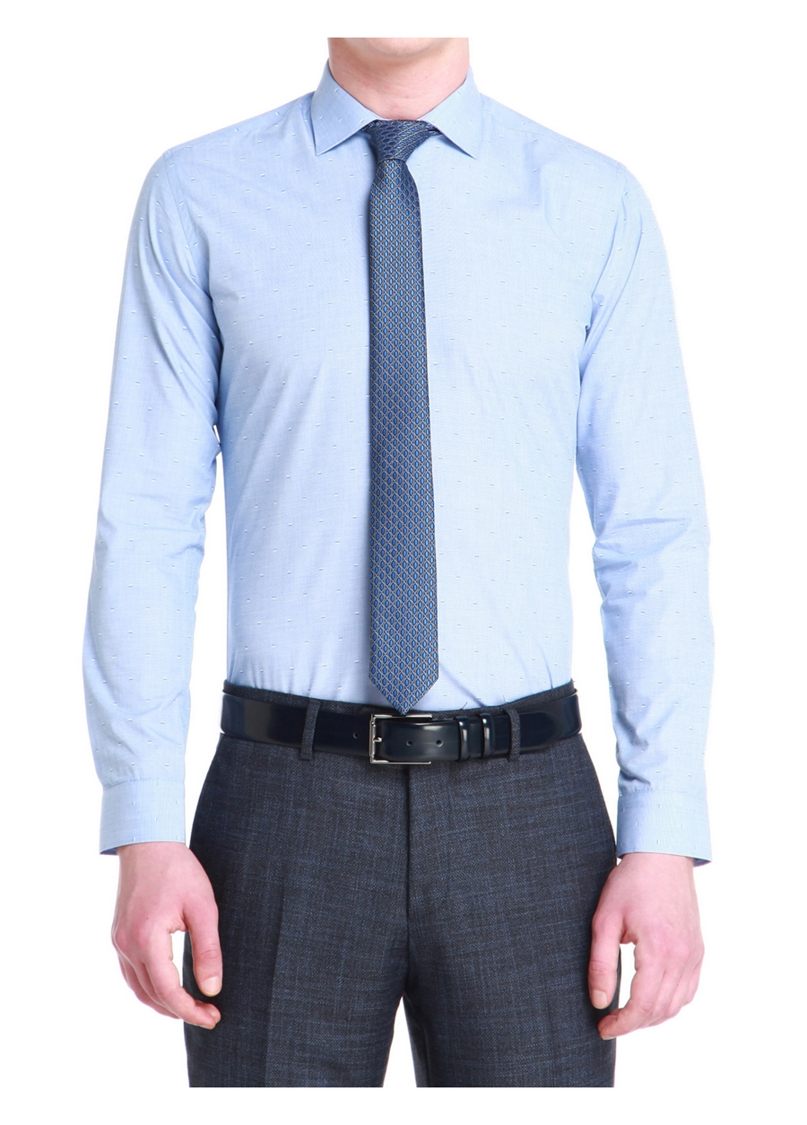 GK 535 Slim Fit Mavi Klasik Gömlek