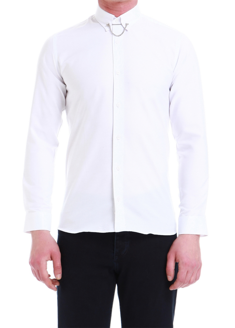 GK 539 Slim Fit Beyaz Klasik Gömlek