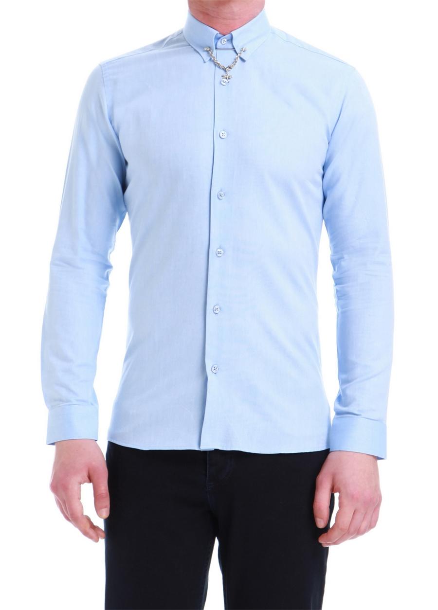 GK 539 Slim Fit Mavi Klasik Gömlek