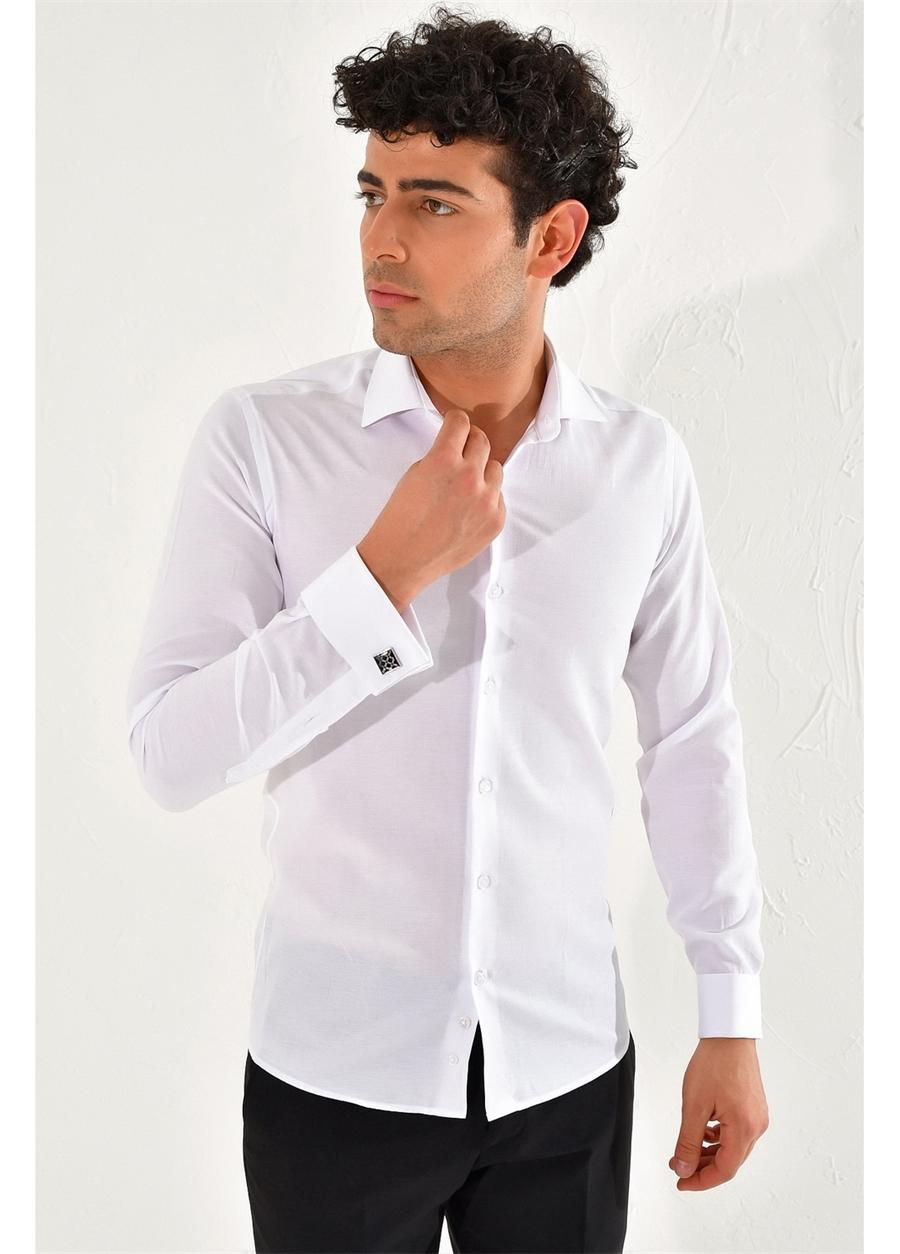 GK 583 Slim Fit Beyaz Klasik Gömlek