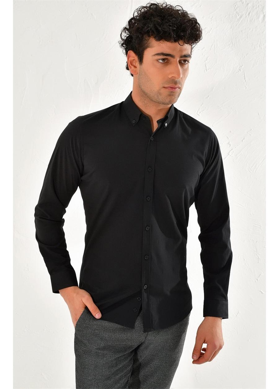 GK 584 Slim Fit Siyah Klasik Gömlek
