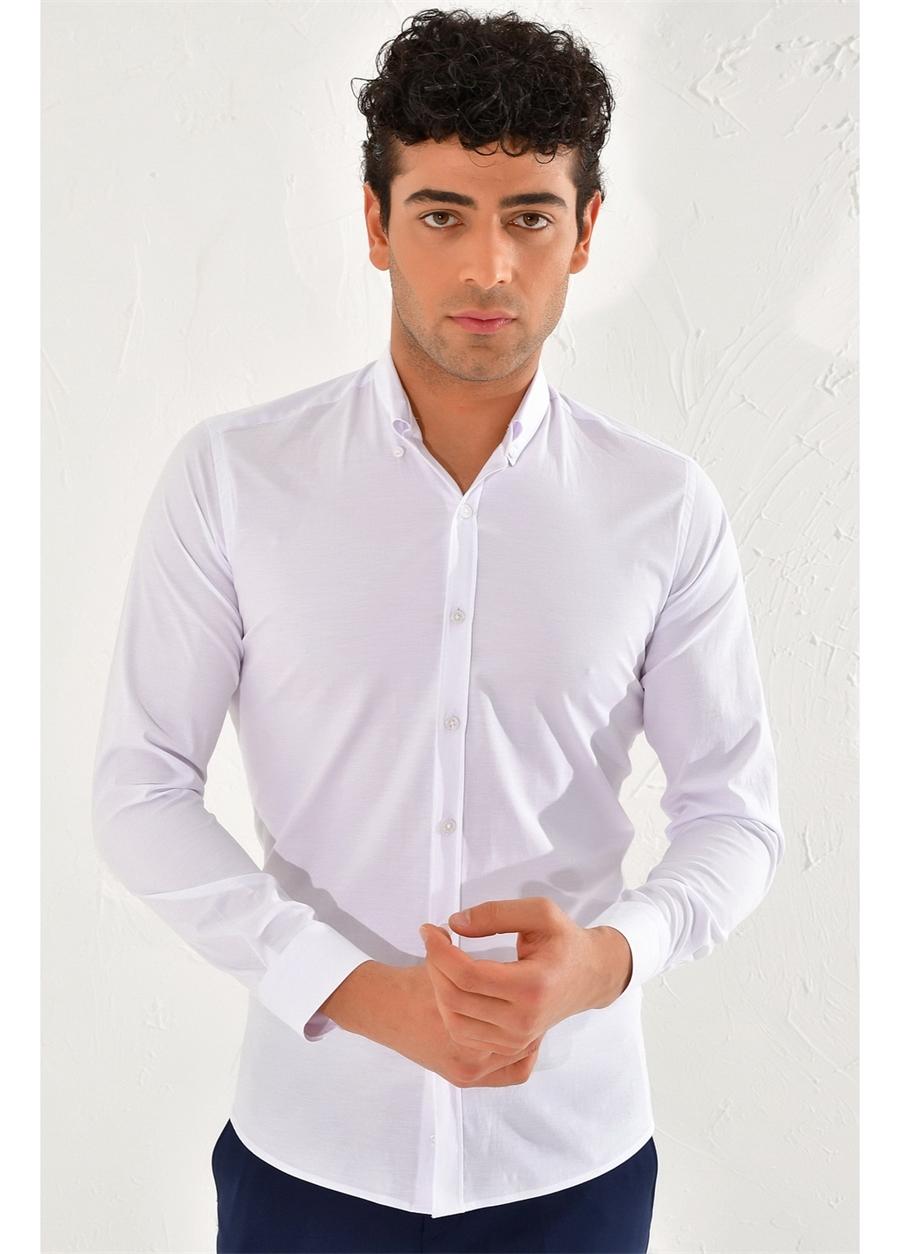 GK 584 Slim Fit Beyaz Klasik Gömlek