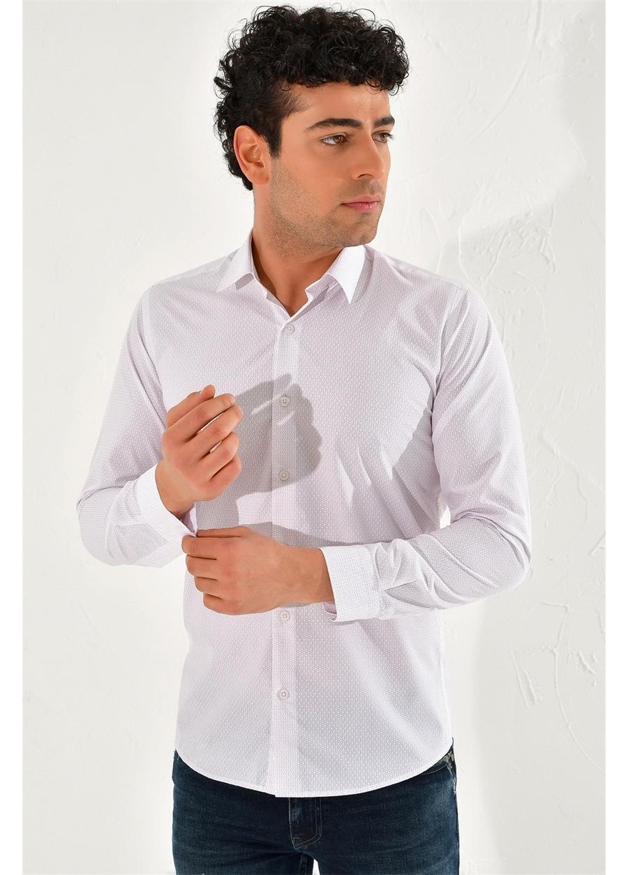 GK 589 Slim Fit Beyaz-Kahve Klasik Gömlek