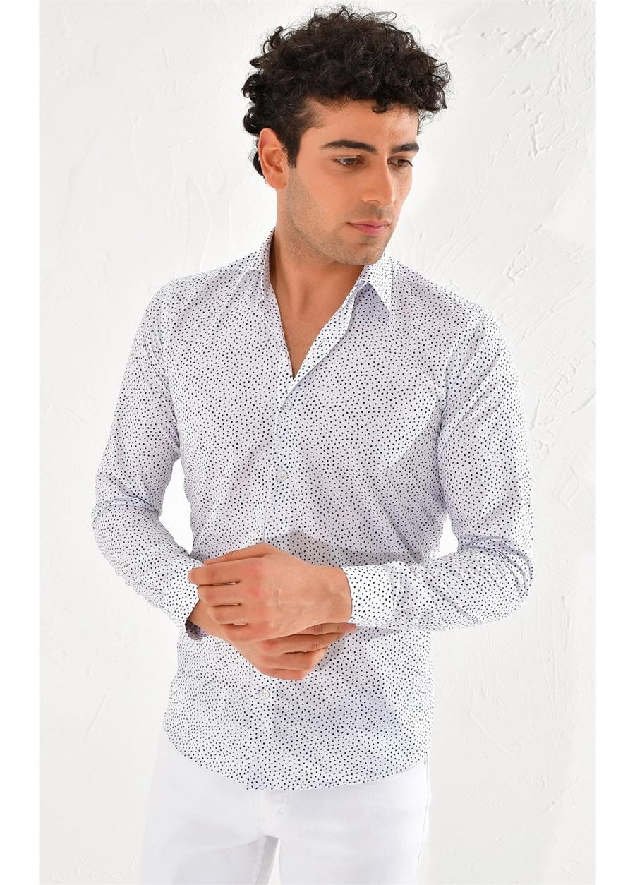 GK 590 Slim Fit Beyaz-Lacivert Klasik Gömlek
