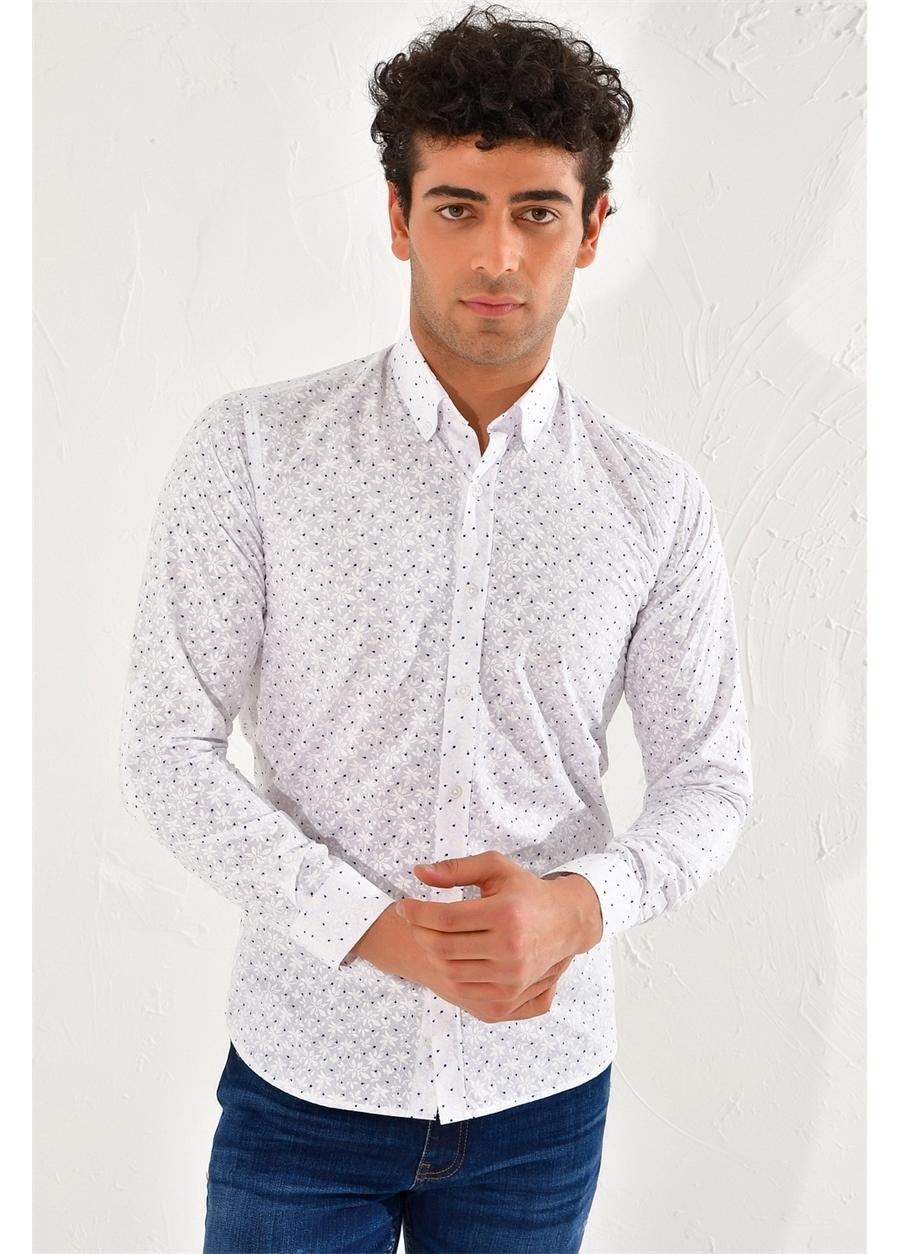 GK 593 Slim Fit Beyaz-Lacivert Klasik Gömlek