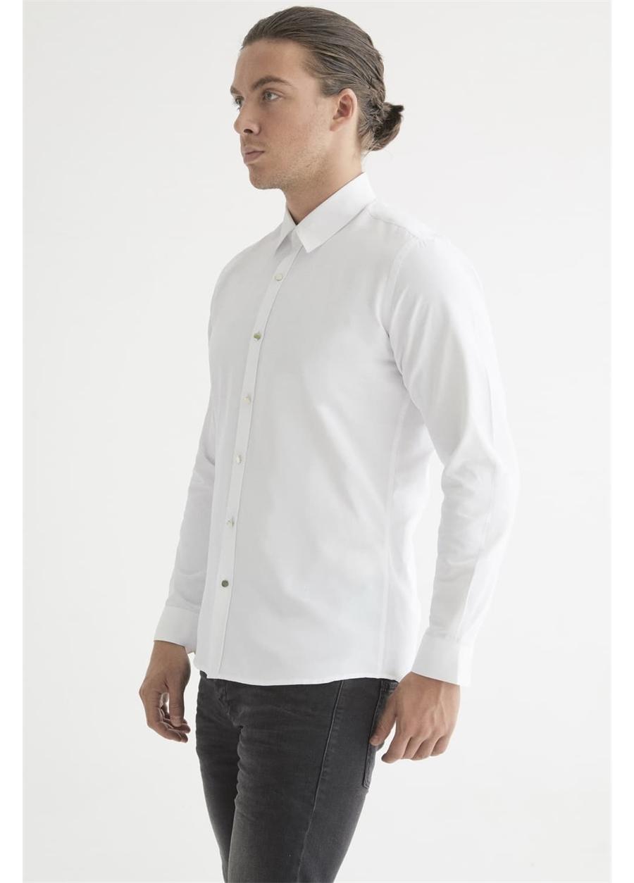 GK 602 Slim Fit Beyaz Klasik Gömlek