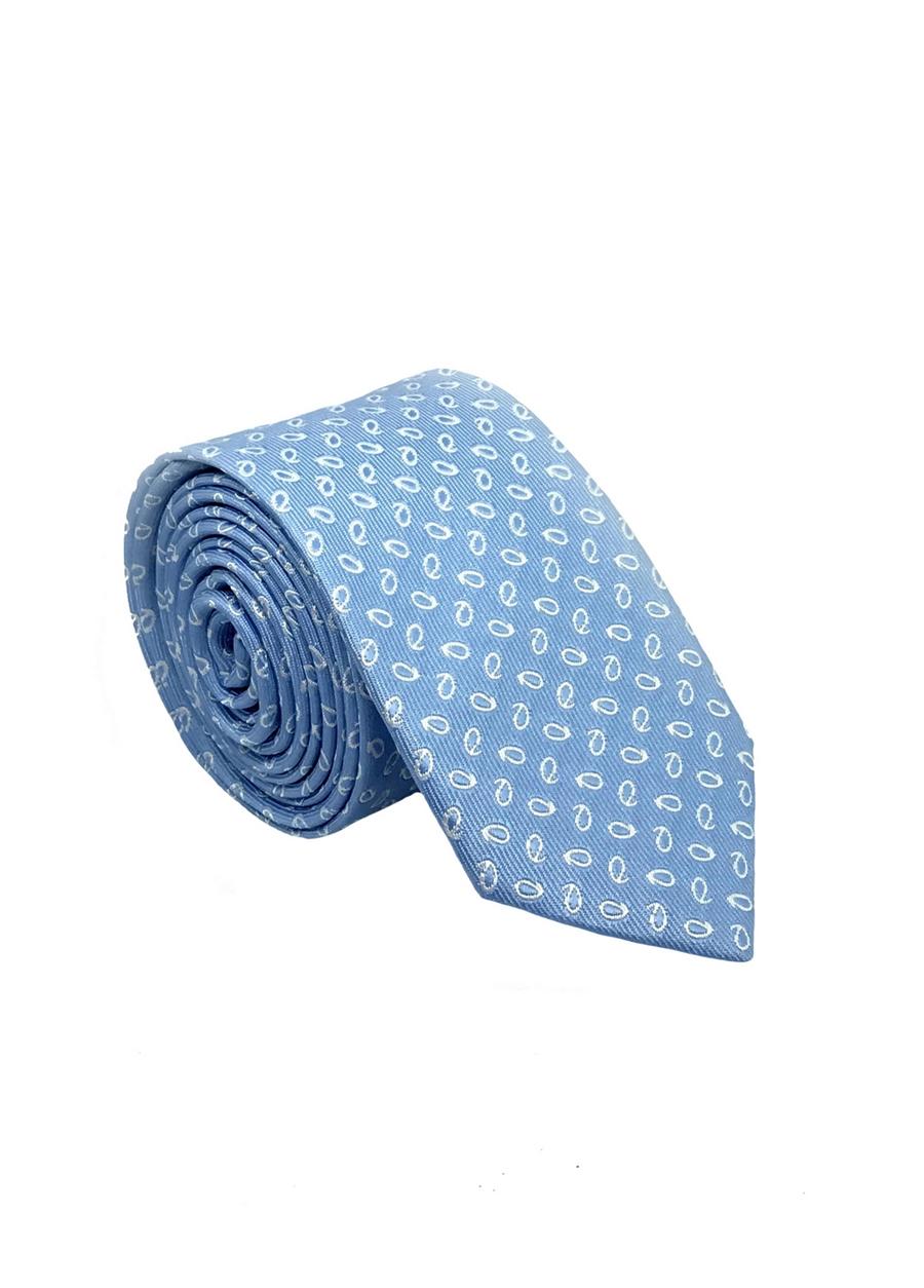 03 Mavi Baskılı Kravat