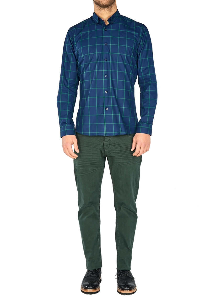 P 1026 Slim Fit Yeşil Spor Pantolon