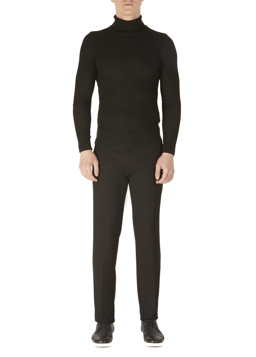 P 1053 Slim Fit Siyah Kanvas Pantolon