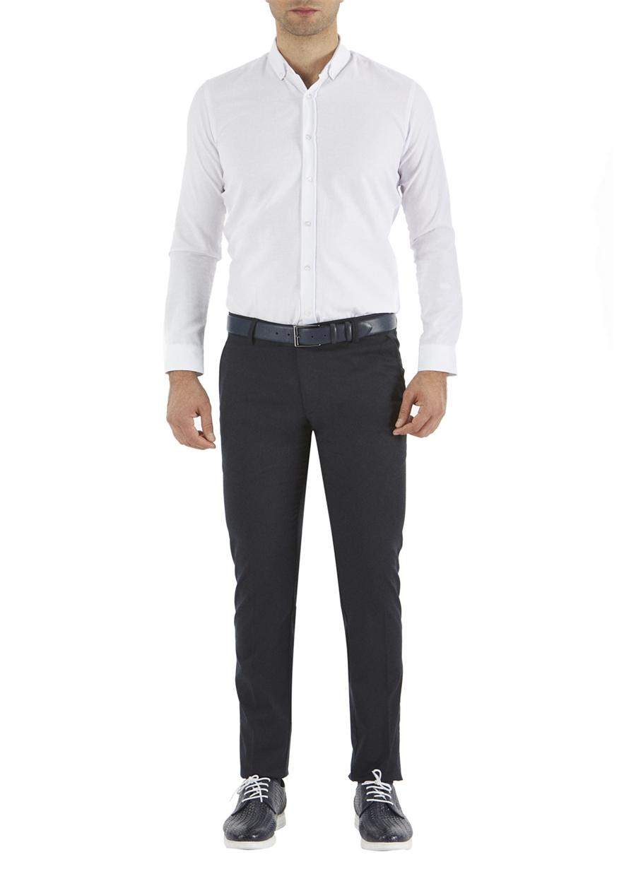 P 1053 Slim Fit Lacivert Kanvas Pantolon