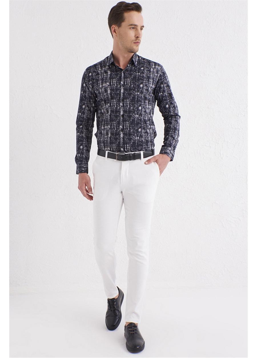 P 1071 Slim Fit Beyaz Spor Pantolon