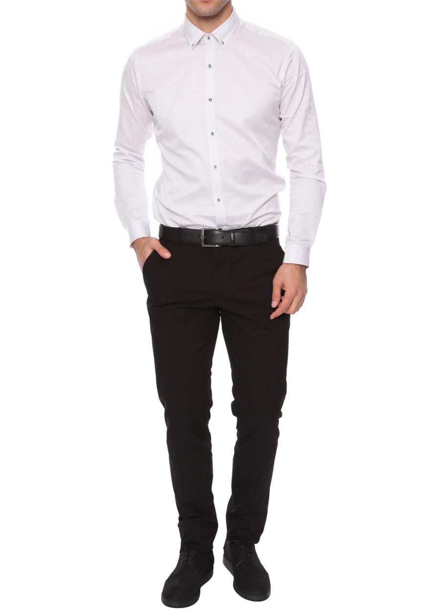 P 990 Slim Fit Siyah Kanvas Pantolon