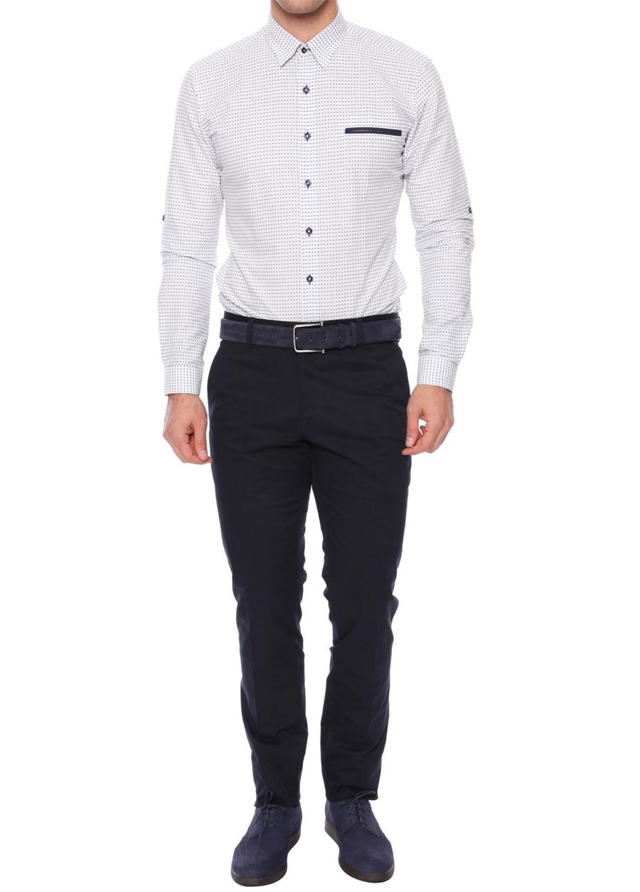 P 990 Slim Fit Lacivert Kanvas Pantolon
