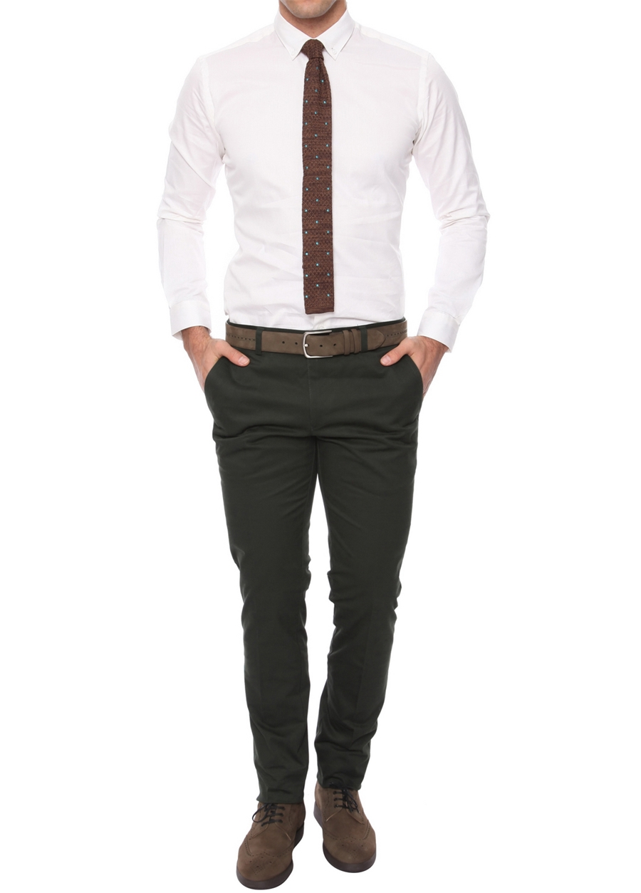 P 990 Slim Fit Yeşil Kanvas Pantolon